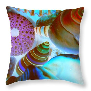 I Sell Seashells Down By The Seashore Throw Pillow by Janice Westerberg
