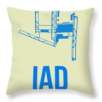 Iad Washington Airport Poster 1 Throw Pillow by Naxart Studio