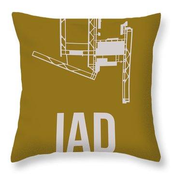Iad Washington Airport Poster 3 Throw Pillow by Naxart Studio