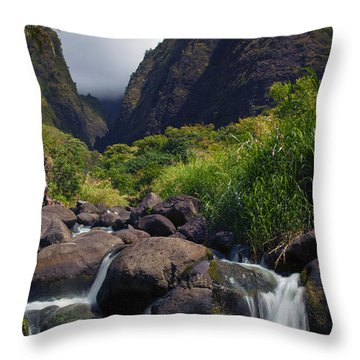 Iao  Storm Throw Pillow by Mike  Dawson