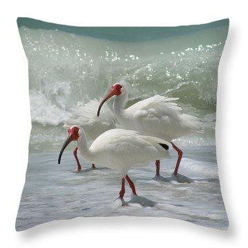 Ibis Pair Throw Pillow by Melinda Saminski