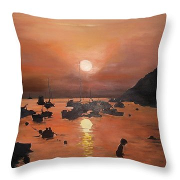 Ibiza Sunset Throw Pillow by Cherise Foster