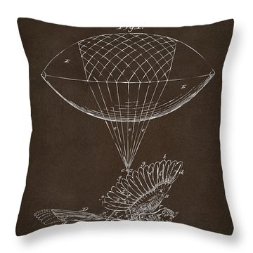 Throw Pillow featuring the drawing Icarus Airborn Patent Artwork Espresso by Nikki Marie Smith