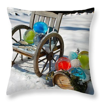 Throw Pillow featuring the photograph Ice Ball Art by Nina Silver