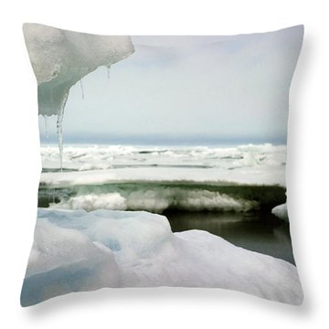 Throw Pillow featuring the photograph Ice Barrow Alaska July 1969 By Mr. Pat Hathaway by California Views Mr Pat Hathaway Archives