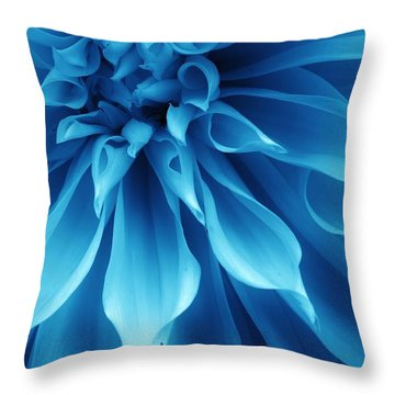 Ice Blue Dahlia Throw Pillow
