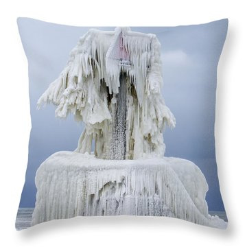 Ice Covered Warning Tower Along Lake Michigan In St. Joseph Michigan Throw Pillow