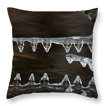 Ice Crocodiles Throw Pillow by Lara Ellis