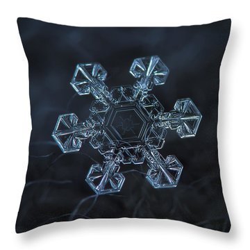 Throw Pillow featuring the photograph Snowflake Photo - Ice Crown by Alexey Kljatov