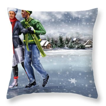 Ice Dancing On The Lake Throw Pillow by Reggie Duffie