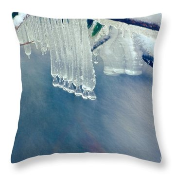 Ice Drops Over Stream Throw Pillow by Dan Friend