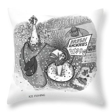 Ice Fishing Throw Pillow