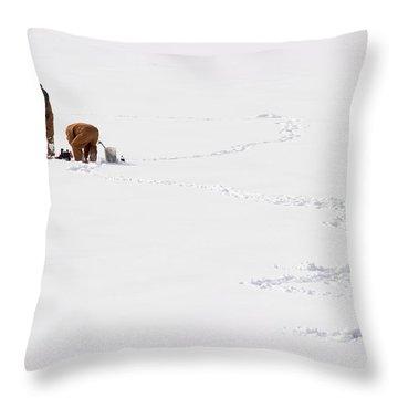 Ice Fishing In Iowa Throw Pillow