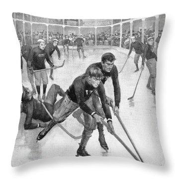 Ice Hockey, 1896 Throw Pillow