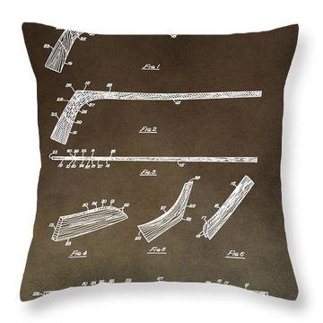 Ice Hockey Stick Patent Throw Pillow