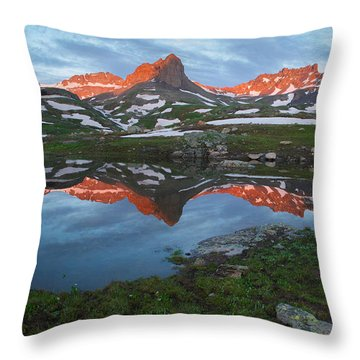 Throw Pillow featuring the photograph Ice Lakes Alpenglow by Aaron Spong