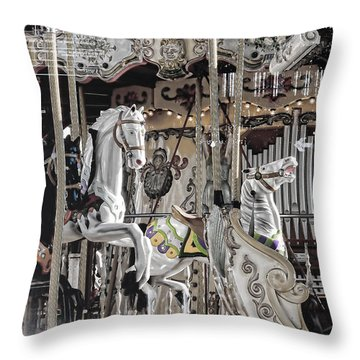 Ice On My Carousel Throw Pillow by Evie Carrier