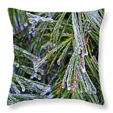 Ice On Pine Needles  Throw Pillow