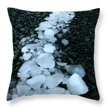 Throw Pillow featuring the photograph Ice Pebbles by Amanda Stadther