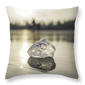 Ice Puck On Little Rock Lake Throw Pillow