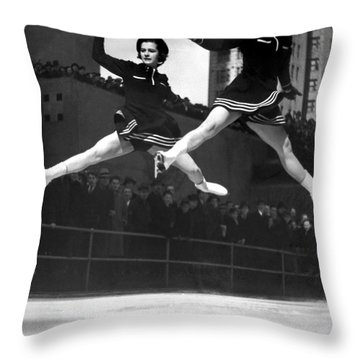 Ice Skaters Perform In Ny Throw Pillow