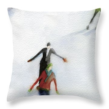 Ice Skaters Watercolor Painting Throw Pillow