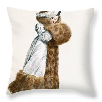 Ice Skating Dress, Engraved By Georges Throw Pillow