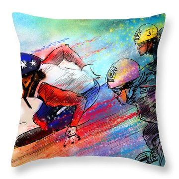 Ice Speed Skating 02 Throw Pillow by Miki De Goodaboom