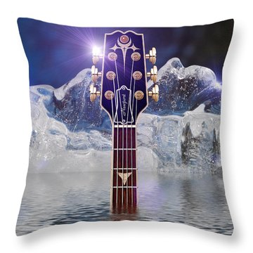 Throw Pillow featuring the digital art Iceberg Blues by WB Johnston