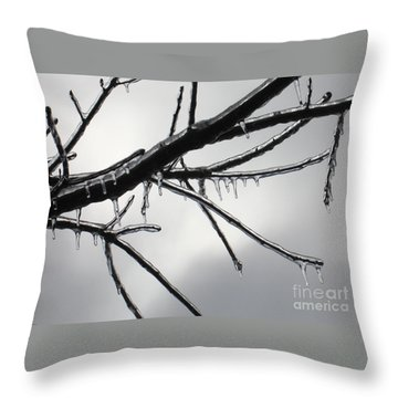 Throw Pillow featuring the photograph Iced Tree by Ann Horn