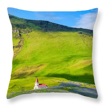 Iceland Mountain Landscape With Church In Vik Throw Pillow