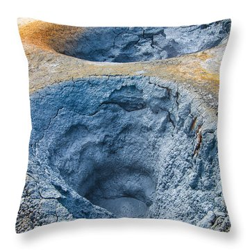 Iceland Natural Abstract Mudpot And Sulphur Throw Pillow by Matthias Hauser