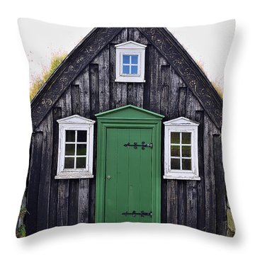 Icelandic Old House Throw Pillow