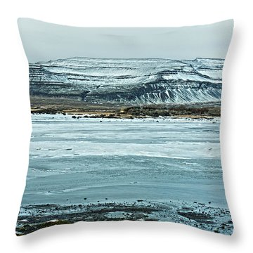 Icelandic Winter Landscape Throw Pillow