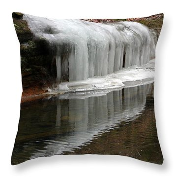 Icicle Reflection  Throw Pillow by Laurel Talabere