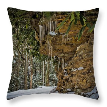 Icicles In Wv Throw Pillow