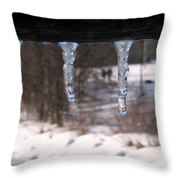 Throw Pillow featuring the photograph Icicles On The Bridge by Nina Silver