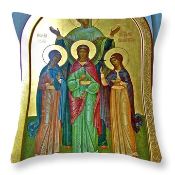 Icon Inside Chesme Church Built By Catherine The Great In Saint  Petersburg-russia Throw Pillow