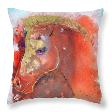 Throw Pillow featuring the painting Iconic Horse Head by Joan Hartenstein