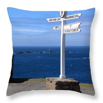 Throw Pillow featuring the photograph Iconic Lands End England by Terri Waters