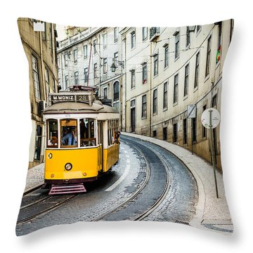 Iconic Lisbon Streetcar No. 28 IIi Throw Pillow by Marco Oliveira