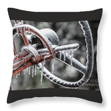Throw Pillow featuring the photograph Icy Allis- Chalmers Tractor by Debbie Green
