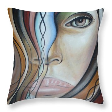 Throw Pillow featuring the painting Icy Blue 040409 by Selena Boron