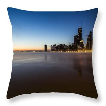 icy crescent moon dawn scene in Chicago Throw Pillow