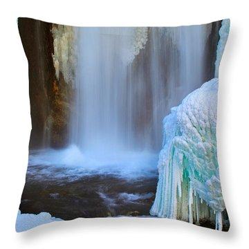Throw Pillow featuring the photograph Ice Falls by Kadek Susanto