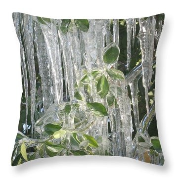 Icy Green Throw Pillow