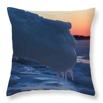 Icy Harbor Port Jefferson New York Throw Pillow