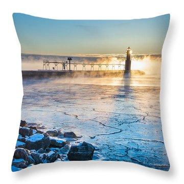 Icy Morning Mist Throw Pillow