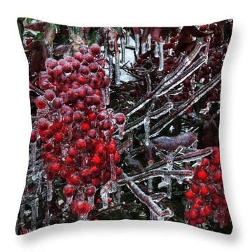 Throw Pillow featuring the photograph Icy Nandina 001 by Lance Vaughn