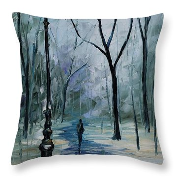 Icy Path - Palette Knife Oil Painting On Canvas By Leonid Afremov Throw Pillow by Leonid Afremov